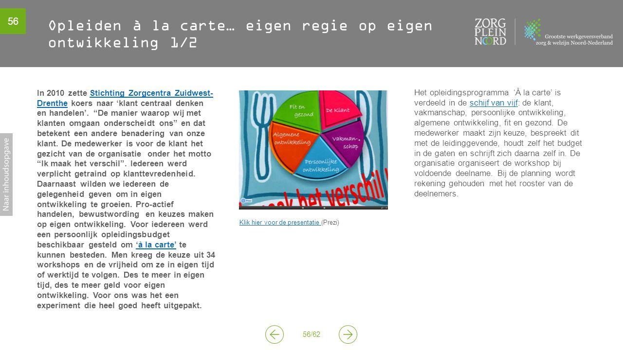 56 56/62 Opleiden à la carte… eigen regie op eigen ontwikkeling 1/2 Klik hier voor de presentatie Klik hier voor de presentatie (Prezi) Het opleidings