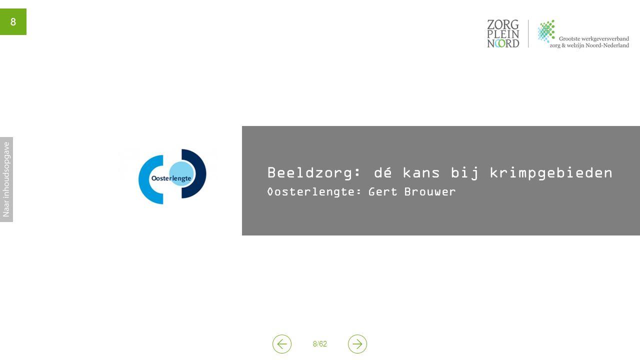 9 9/62 YouTube filmpje 'Beeldtelefoon Oosterlengte vermindert aantal huisbezoeken' (RTV Noord) In de voorfase is met behulp van ESF subsidie onderzoek gedaan naar de situatie in Oost-Groningen (krimp, arbeidsmarkt en overheidsbeleid) en naar beeldzorg.