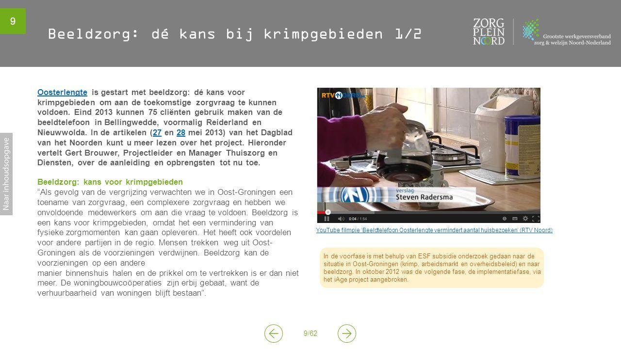 9 9/62 YouTube filmpje 'Beeldtelefoon Oosterlengte vermindert aantal huisbezoeken' (RTV Noord) In de voorfase is met behulp van ESF subsidie onderzoek