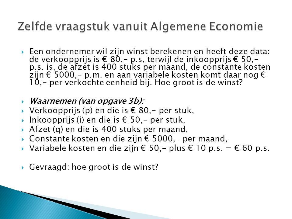  Een ondernemer wil zijn winst berekenen en heeft deze data: de verkoopprijs is € 80,- p.s, terwijl de inkoopprijs € 50,- p.s. is, de afzet is 400 st