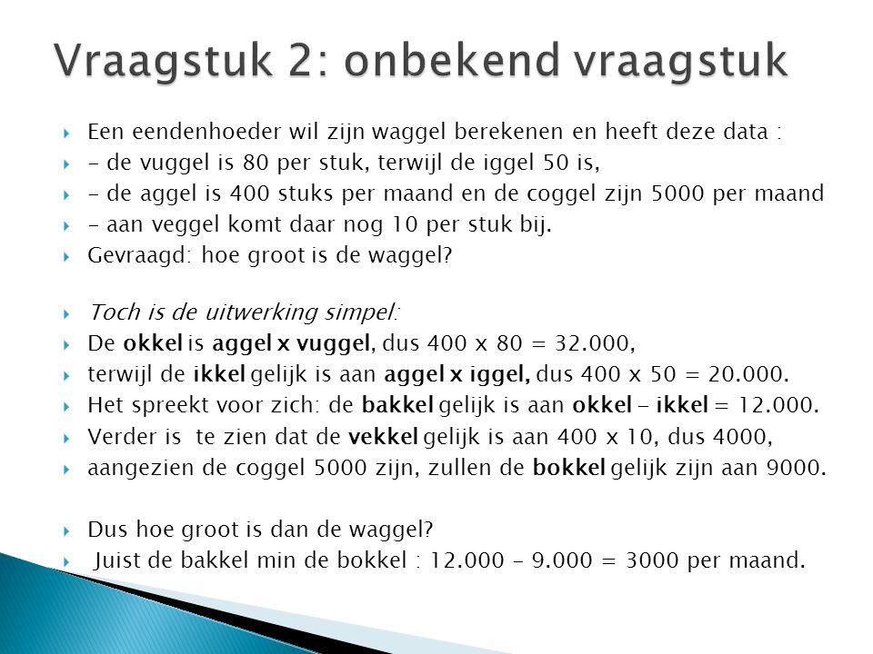  Een eendenhoeder wil zijn waggel berekenen en heeft deze data :  - de vuggel is 80 per stuk, terwijl de iggel 50 is,  - de aggel is 400 stuks per