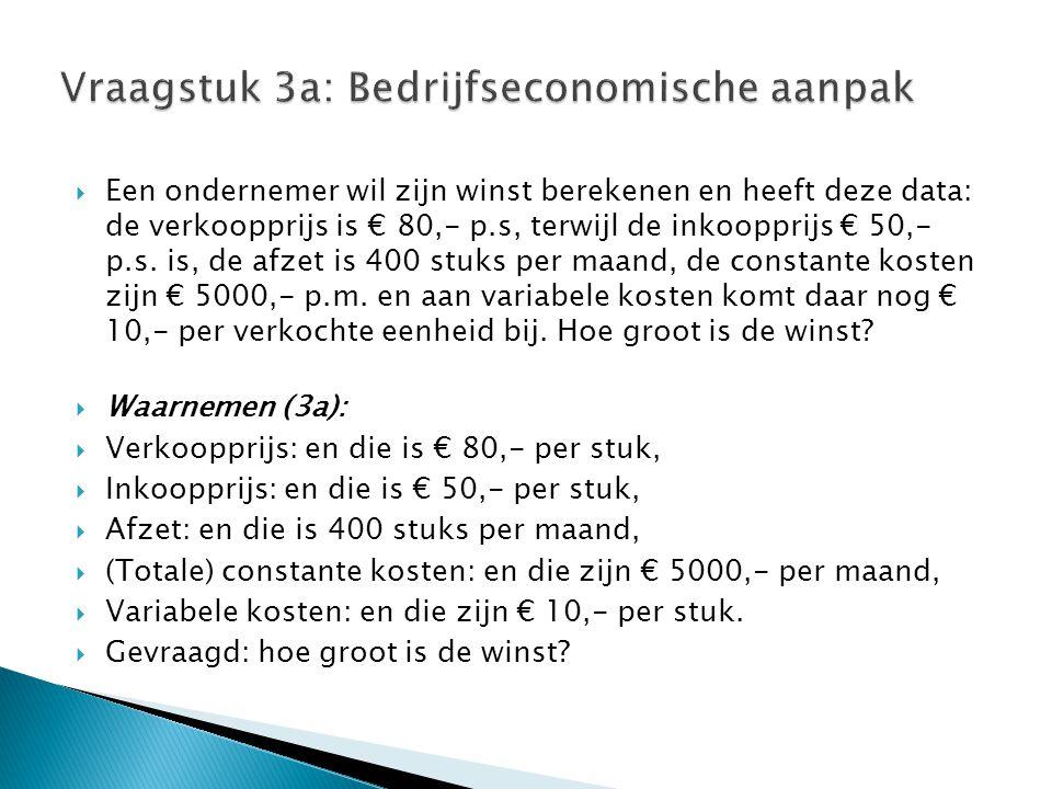  Een ondernemer wil zijn winst berekenen en heeft deze data: de verkoopprijs is € 80,- p.s, terwijl de inkoopprijs € 50,- p.s.