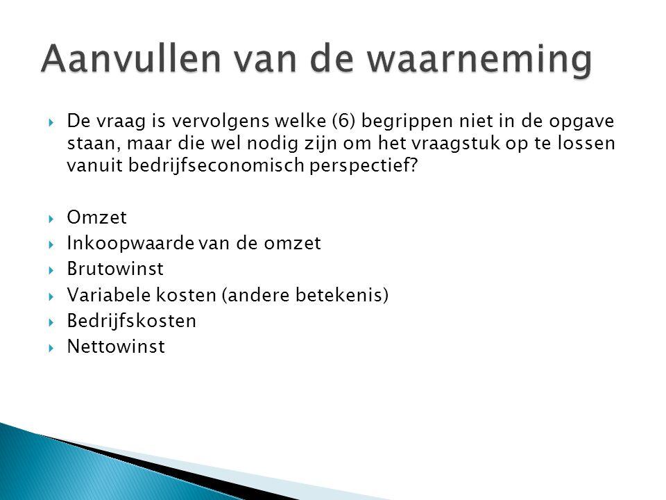  De vraag is vervolgens welke (6) begrippen niet in de opgave staan, maar die wel nodig zijn om het vraagstuk op te lossen vanuit bedrijfseconomisch perspectief.