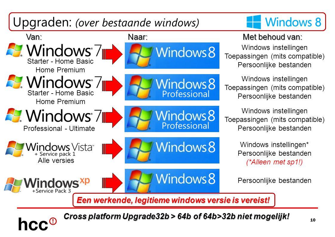 10 Upgraden: (over bestaande windows) Starter - Home Basic Home Premium Professional - Ultimate Alle versies Van:Naar: Met behoud van: Windows instell