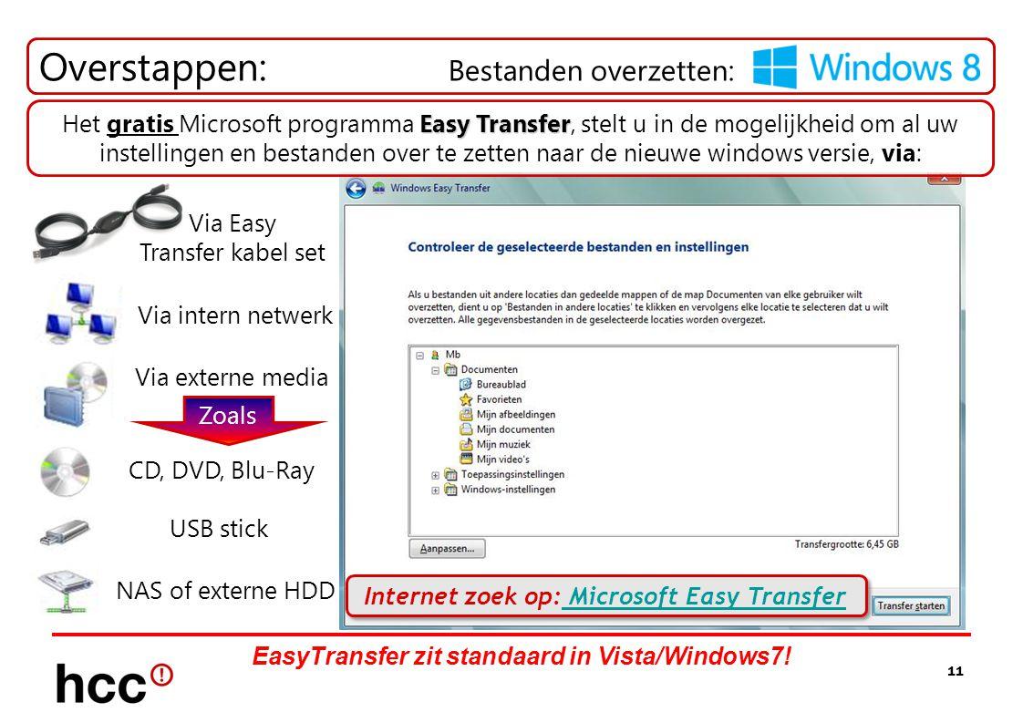 11 Overstappen: Bestanden overzetten: Zoals Via externe media CD, DVD, Blu-Ray USB stick NAS of externe HDD Via intern netwerk Via Easy Transfer kabel