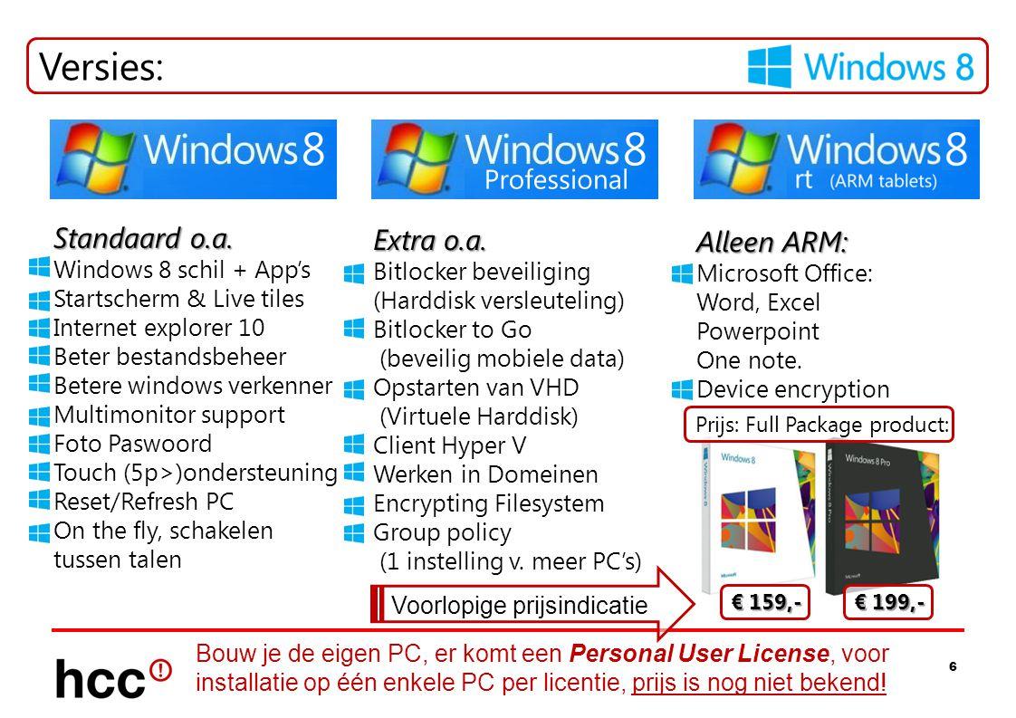 6 Versies: Standaard o.a. Windows 8 schil + App's Startscherm & Live tiles Internet explorer 10 Beter bestandsbeheer Betere windows verkenner Multimon