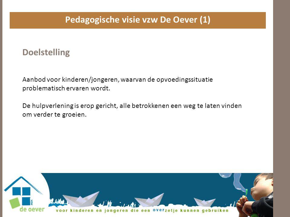 Pedagogische visie vzw De Oever (1) Doelstelling Aanbod voor kinderen/jongeren, waarvan de opvoedingssituatie problematisch ervaren wordt.