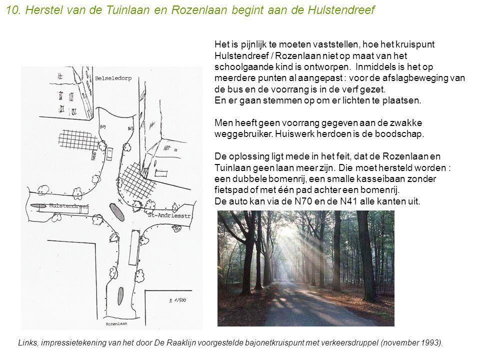 Het is pijnlijk te moeten vaststellen, hoe het kruispunt Hulstendreef / Rozenlaan niet op maat van het schoolgaande kind is ontworpen.