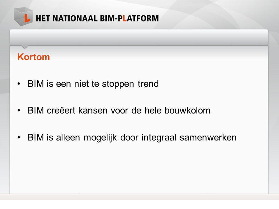 Kortom •BIM is een niet te stoppen trend •BIM creëert kansen voor de hele bouwkolom •BIM is alleen mogelijk door integraal samenwerken