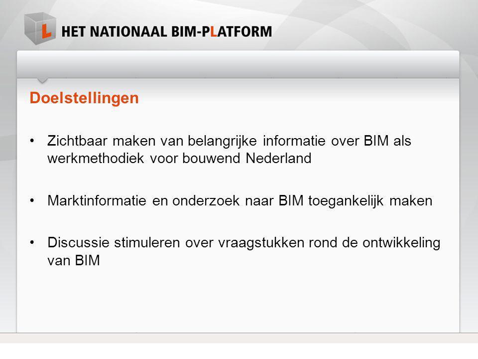 Doelstellingen •Zichtbaar maken van belangrijke informatie over BIM als werkmethodiek voor bouwend Nederland •Marktinformatie en onderzoek naar BIM to