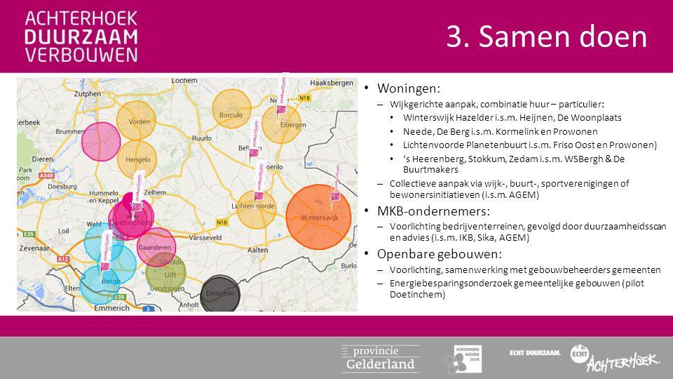 3. Samen doen • Woningen: – Wijkgerichte aanpak, combinatie huur – particulier: • Winterswijk Hazelder i.s.m. Heijnen, De Woonplaats • Neede, De Berg