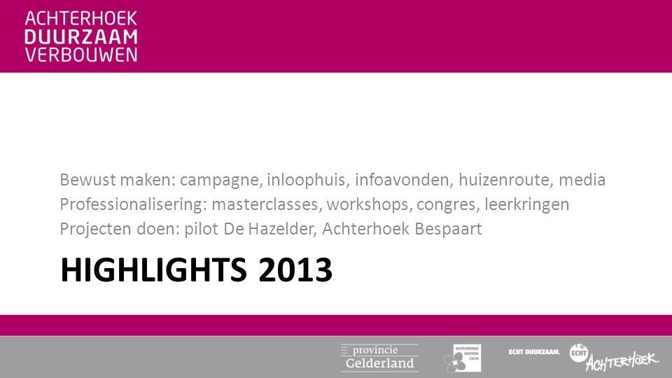 HIGHLIGHTS 2013 Bewust maken: campagne, inloophuis, infoavonden, huizenroute, media Professionalisering: masterclasses, workshops, congres, leerkringe