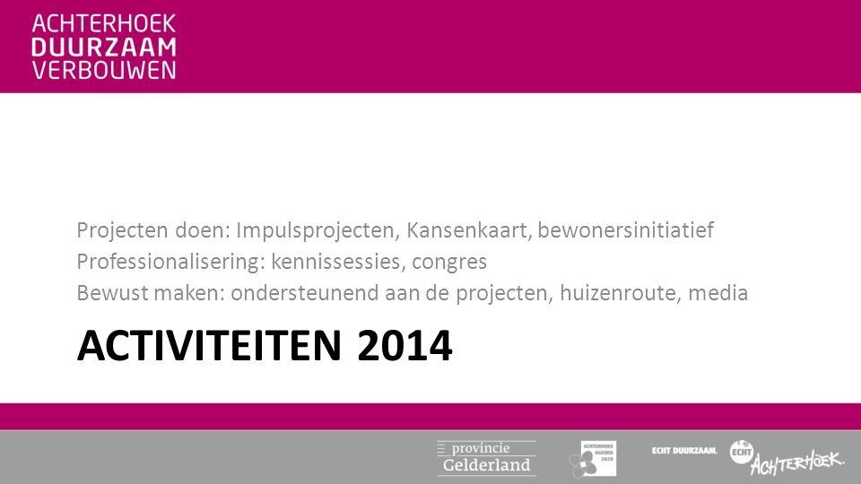 ACTIVITEITEN 2014 Projecten doen: Impulsprojecten, Kansenkaart, bewonersinitiatief Professionalisering: kennissessies, congres Bewust maken: ondersteu
