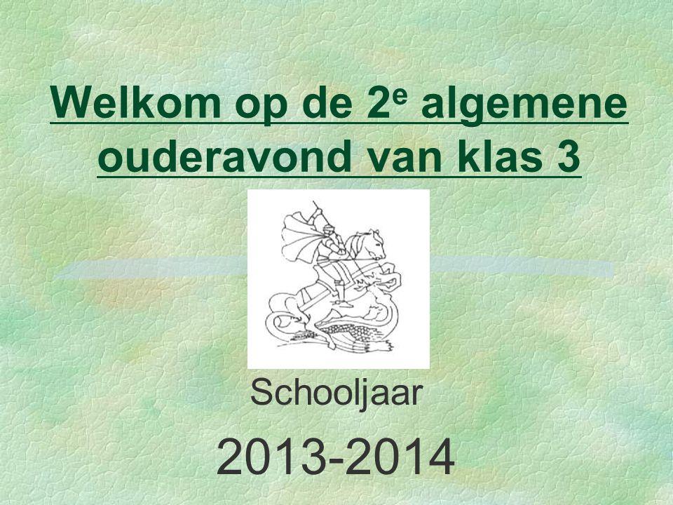 Welkom op de 2 e algemene ouderavond van klas 3 Schooljaar 2013-2014