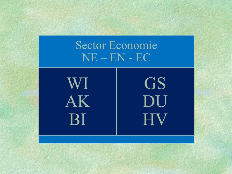 Sector Economie NE – EN - EC WI AK BI GS DU HV