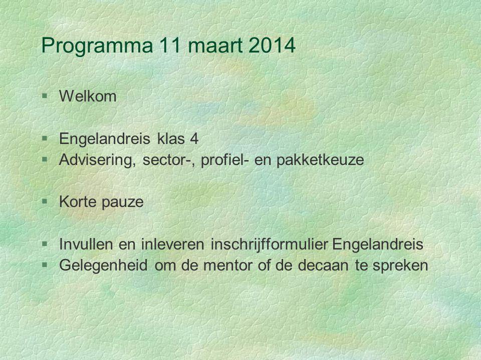 Programma 11 maart 2014 §Welkom §Engelandreis klas 4 §Advisering, sector-, profiel- en pakketkeuze §Korte pauze §Invullen en inleveren inschrijfformul