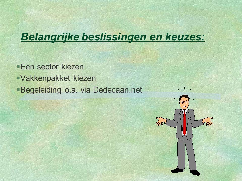 Belangrijke beslissingen en keuzes: §Een sector kiezen §Vakkenpakket kiezen  Begeleiding o.a. via Dedecaan.net