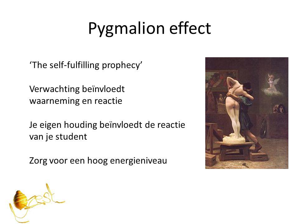 Pygmalion effect 'The self-fulfilling prophecy' Verwachting beïnvloedt waarneming en reactie Je eigen houding beïnvloedt de reactie van je student Zor