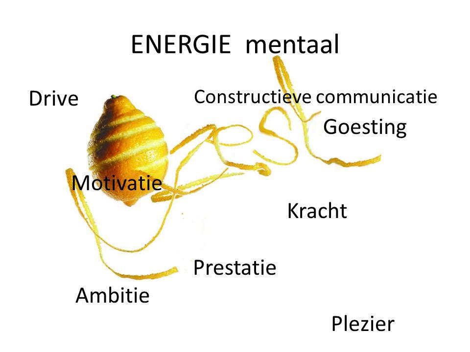 ENERGIE mentaal Constructieve communicatie Drive Goesting Motivatie Kracht Prestatie Ambitie Plezier