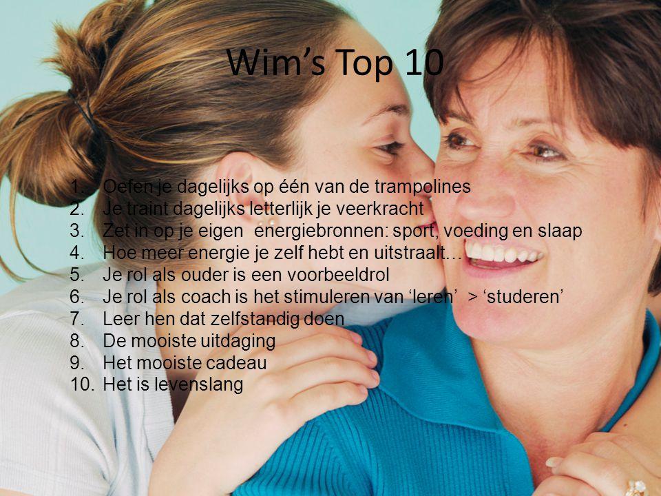 Wim's Top 10 1.Oefen je dagelijks op één van de trampolines 2.Je traint dagelijks letterlijk je veerkracht 3.Zet in op je eigen energiebronnen: sport,