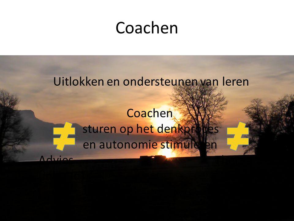 Coachen Uitlokken en ondersteunen van leren Coachen sturen op het denkproces en autonomie stimuleren Advies Therapie (inhoud) (expert) Bron: Jef Cleme