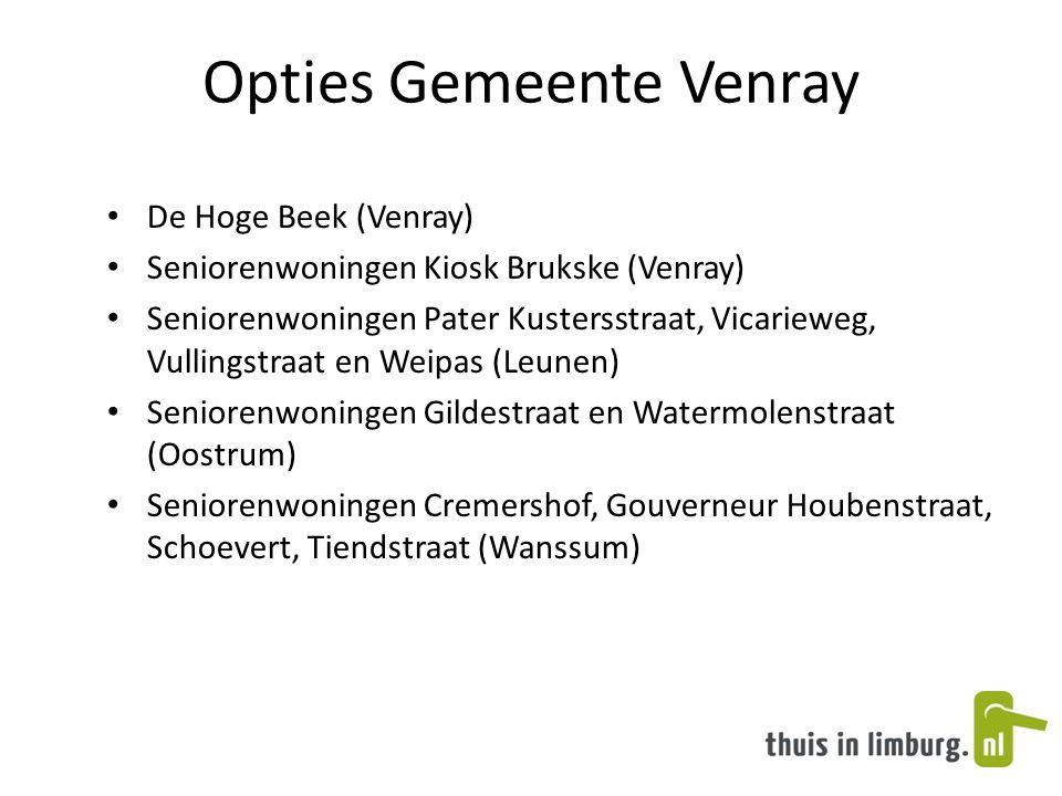 Opties Gemeente Venray • De Hoge Beek (Venray) • Seniorenwoningen Kiosk Brukske (Venray) • Seniorenwoningen Pater Kustersstraat, Vicarieweg, Vullingst