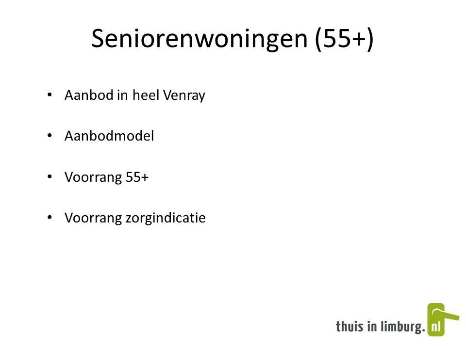 Seniorenwoningen (55+) • Aanbod in heel Venray • Aanbodmodel • Voorrang 55+ • Voorrang zorgindicatie