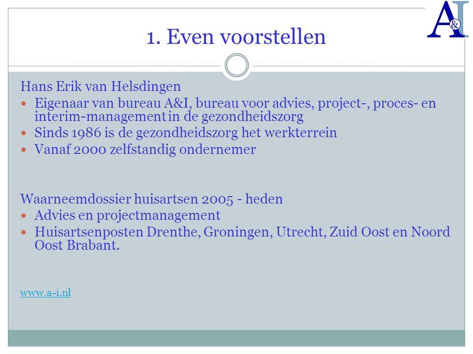 1. Even voorstellen Hans Erik van Helsdingen  Eigenaar van bureau A&I, bureau voor advies, project-, proces- en interim-management in de gezondheidsz