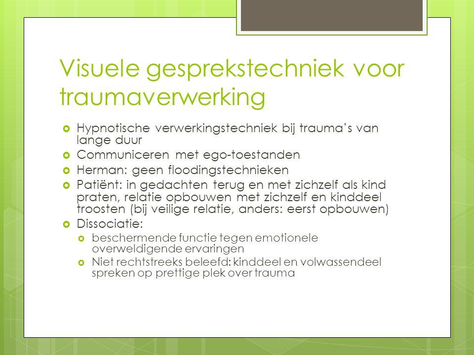 Visuele gesprekstechniek voor traumaverwerking  Hypnotische verwerkingstechniek bij trauma's van lange duur  Communiceren met ego-toestanden  Herma