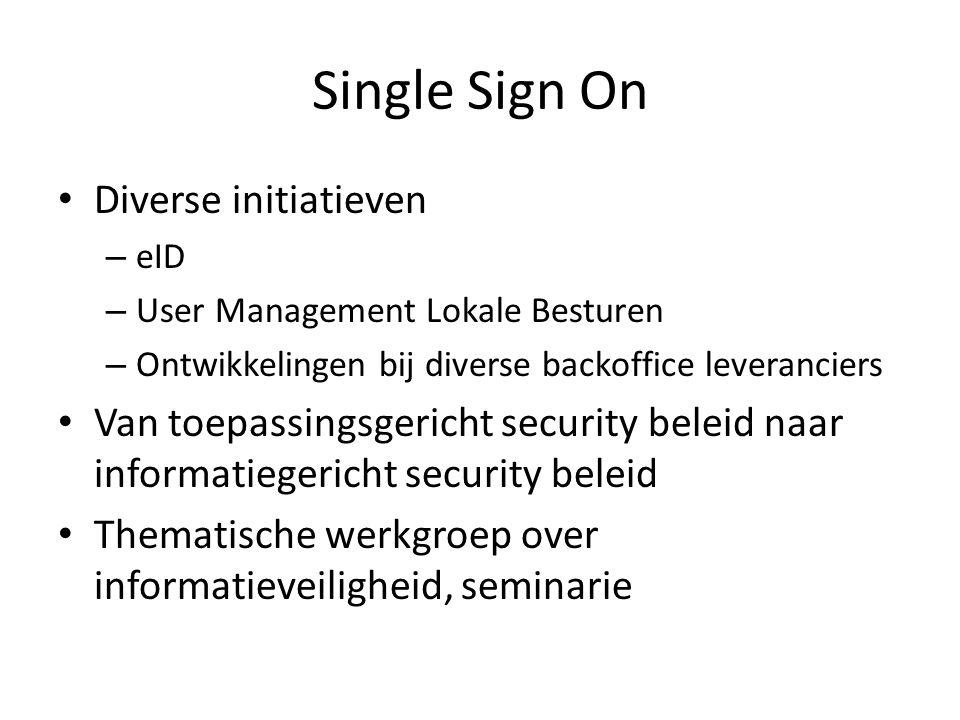 Single Sign On • Diverse initiatieven – eID – User Management Lokale Besturen – Ontwikkelingen bij diverse backoffice leveranciers • Van toepassingsge