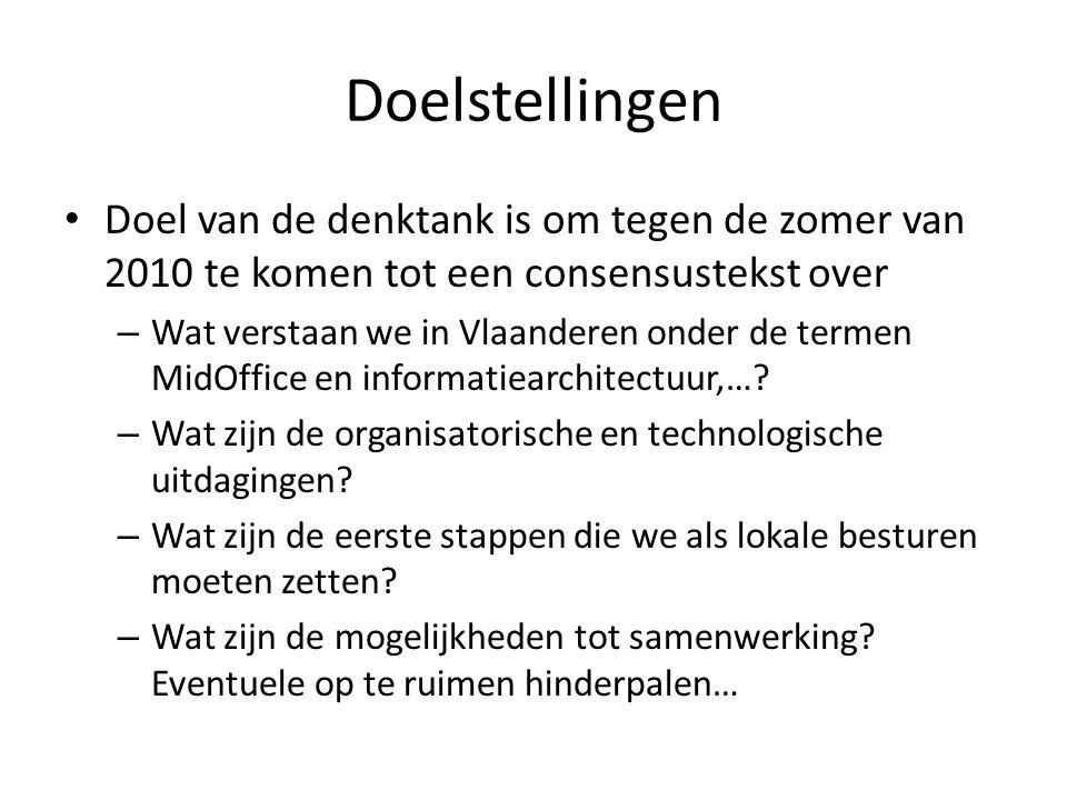 Doelstellingen • Doel van de denktank is om tegen de zomer van 2010 te komen tot een consensustekst over – Wat verstaan we in Vlaanderen onder de termen MidOffice en informatiearchitectuur,….
