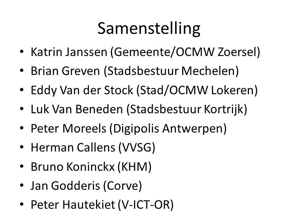 Samenstelling • Katrin Janssen (Gemeente/OCMW Zoersel) • Brian Greven (Stadsbestuur Mechelen) • Eddy Van der Stock (Stad/OCMW Lokeren) • Luk Van Bened