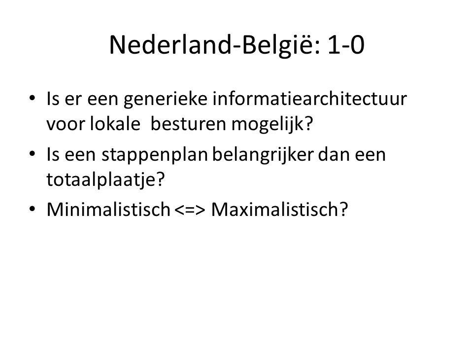 Nederland-België: 1-0 • Is er een generieke informatiearchitectuur voor lokale besturen mogelijk? • Is een stappenplan belangrijker dan een totaalplaa