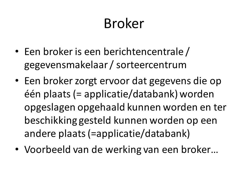 Broker • Een broker is een berichtencentrale / gegevensmakelaar / sorteercentrum • Een broker zorgt ervoor dat gegevens die op één plaats (= applicatie/databank) worden opgeslagen opgehaald kunnen worden en ter beschikking gesteld kunnen worden op een andere plaats (=applicatie/databank) • Voorbeeld van de werking van een broker…