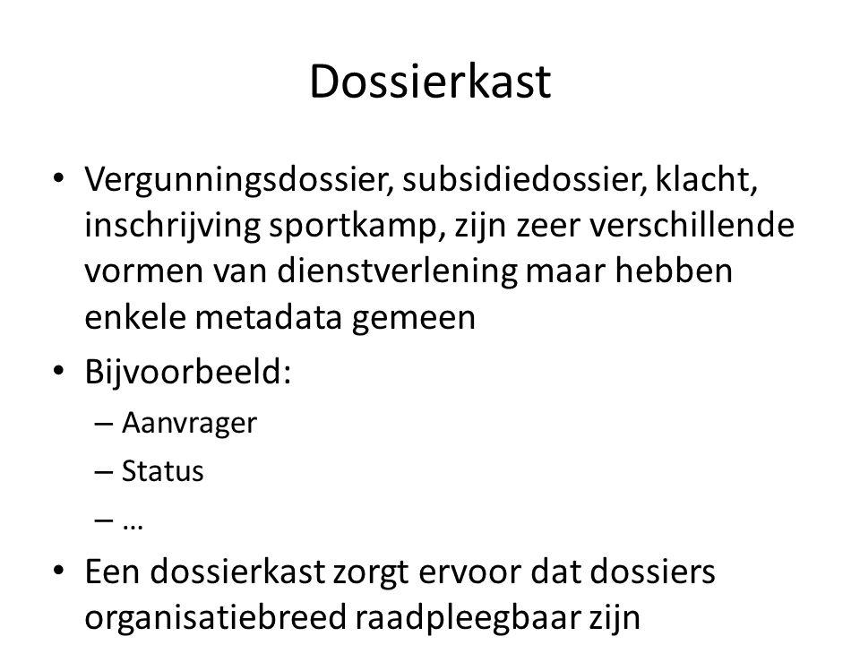 Dossierkast • Vergunningsdossier, subsidiedossier, klacht, inschrijving sportkamp, zijn zeer verschillende vormen van dienstverlening maar hebben enkele metadata gemeen • Bijvoorbeeld: – Aanvrager – Status – … • Een dossierkast zorgt ervoor dat dossiers organisatiebreed raadpleegbaar zijn