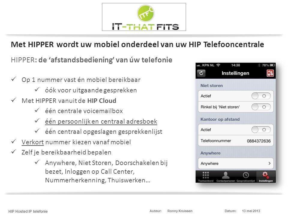 Ronny Kruissen HIP Hosted IP telefonie Datum:13 mei 2013Auteur: HIPPER: de 'afstandsbediening' van úw telefonie  Op 1 nummer vast én mobiel bereikbaa