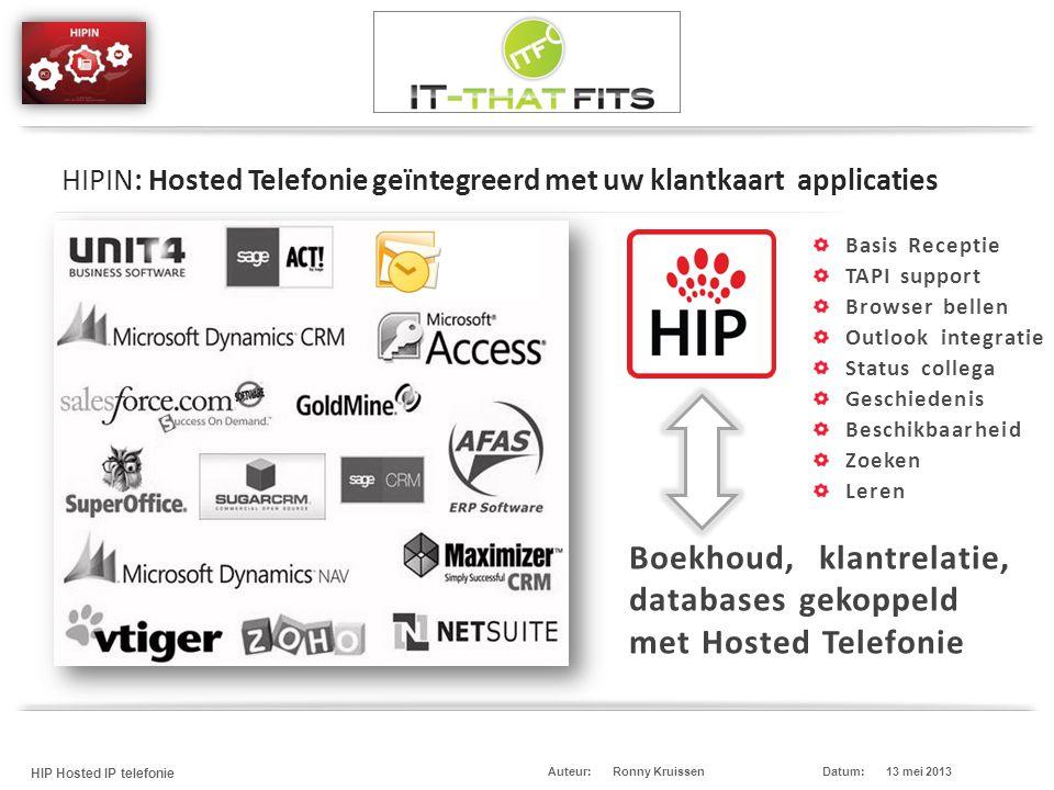 Ronny Kruissen HIP Hosted IP telefonie Datum:13 mei 2013Auteur: Boekhoud, klantrelatie, databases gekoppeld met Hosted Telefonie HIPIN: Hosted Telefon