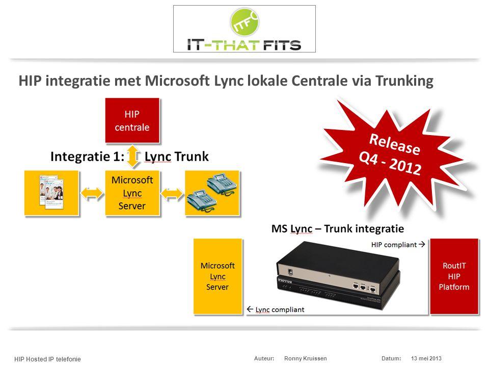 Ronny Kruissen HIP Hosted IP telefonie Datum:13 mei 2013Auteur: HIP integratie met Microsoft Lync lokale Centrale via Trunking Release Q4 - 2012 Relea