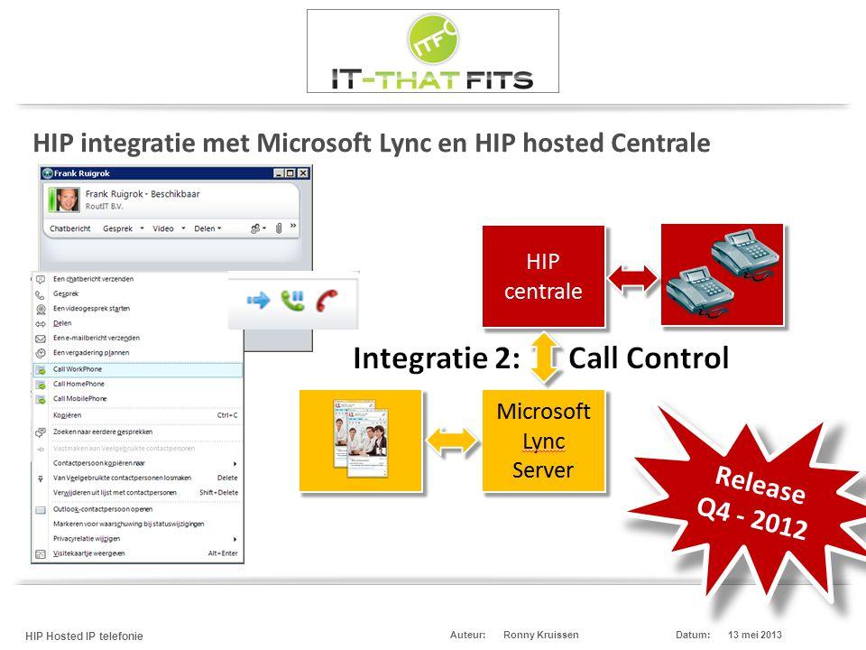 Ronny Kruissen HIP Hosted IP telefonie Datum:13 mei 2013Auteur: HIP integratie met Microsoft Lync en HIP hosted Centrale Release Q4 - 2012 Release Q4 - 2012