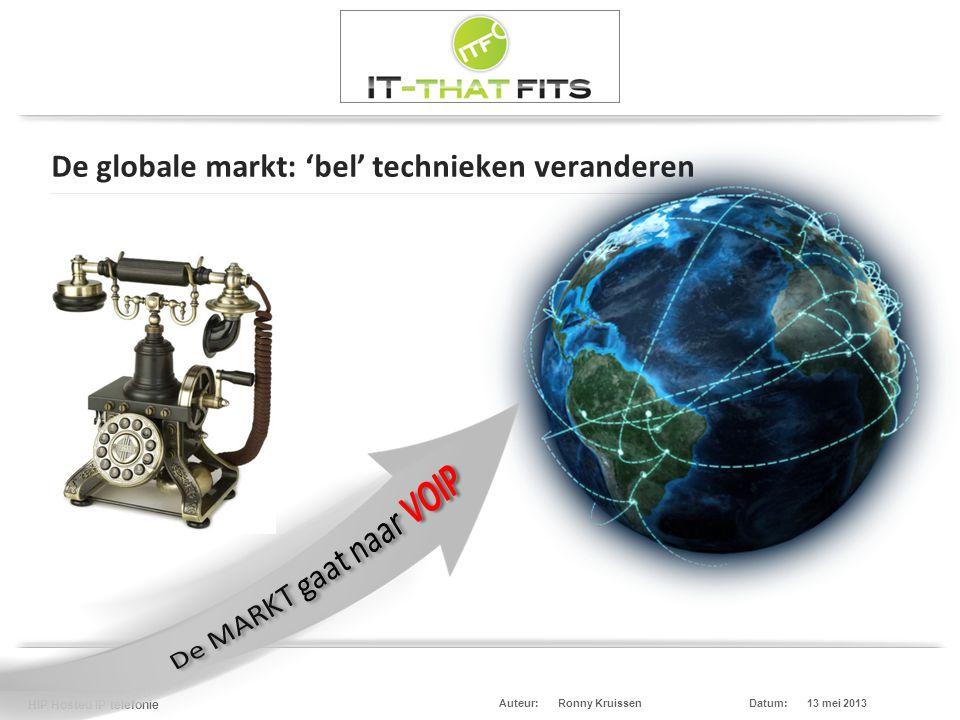 Ronny Kruissen HIP Hosted IP telefonie Datum:13 mei 2013Auteur: De globale markt: 'bel' technieken veranderen Cloud Computing Cloud Diensten