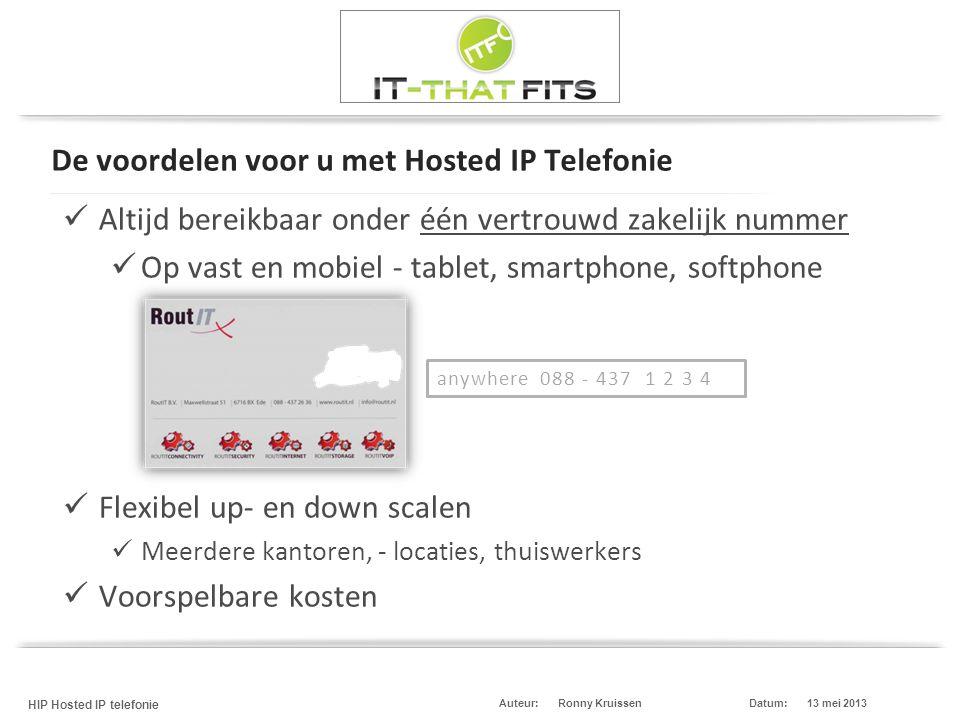 Ronny Kruissen HIP Hosted IP telefonie Datum:13 mei 2013Auteur: De voordelen voor u met Hosted IP Telefonie  Altijd bereikbaar onder één vertrouwd za
