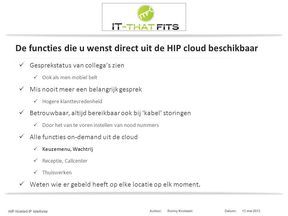 Ronny Kruissen HIP Hosted IP telefonie Datum:13 mei 2013Auteur: De functies die u wenst direct uit de HIP cloud beschikbaar  Gesprekstatus van colleg