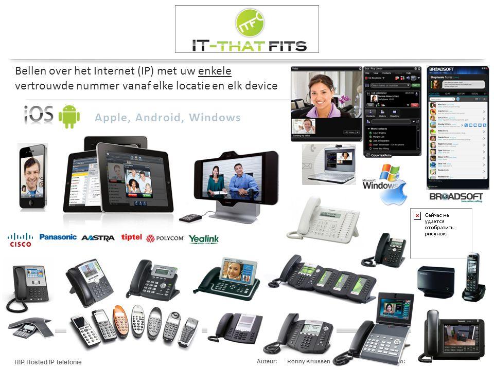 Ronny Kruissen HIP Hosted IP telefonie Datum:13 mei 2013Auteur: Bellen over het Internet (IP) met uw enkele vertrouwde nummer vanaf elke locatie en el