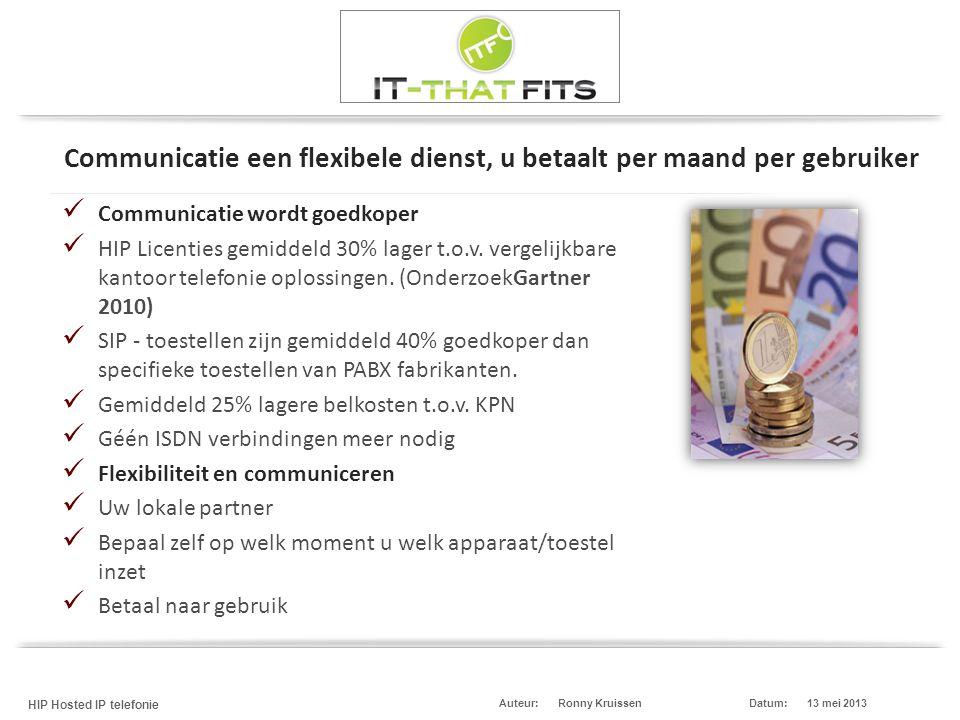 Ronny Kruissen HIP Hosted IP telefonie Datum:13 mei 2013Auteur:  Communicatie wordt goedkoper  HIP Licenties gemiddeld 30% lager t.o.v. vergelijkbar