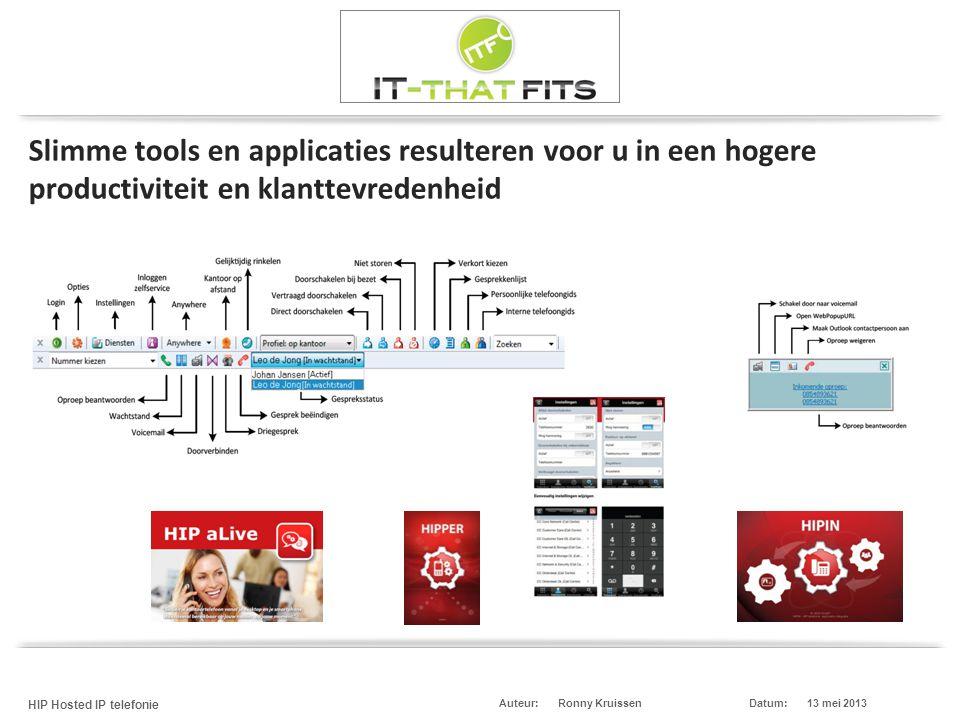 Ronny Kruissen HIP Hosted IP telefonie Datum:13 mei 2013Auteur: Slimme tools en applicaties resulteren voor u in een hogere productiviteit en klanttevredenheid
