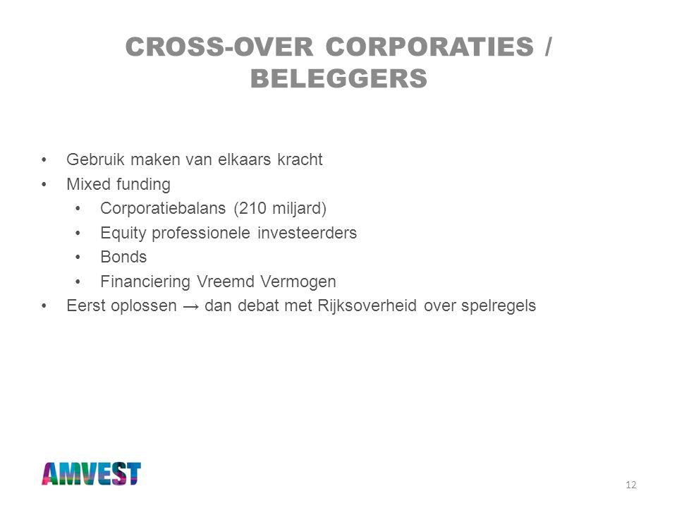 12 CROSS-OVER CORPORATIES / BELEGGERS •Gebruik maken van elkaars kracht •Mixed funding •Corporatiebalans (210 miljard) •Equity professionele investeer
