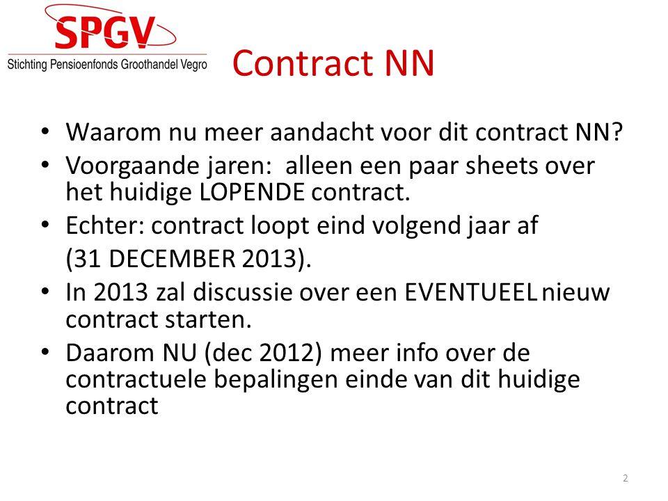 Contractperiode: 5 jaar 2009 t/m 2013 Herverzekeringcontract met garantieclausule Alle risico's voor NN bijvoorbeeld: • Beleggingsrisico's • Langleven – en A.O.