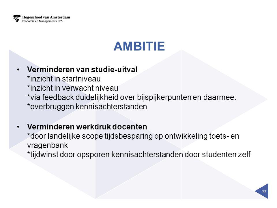 AMBITIE •Verminderen van studie-uitval *inzicht in startniveau *inzicht in verwacht niveau *via feedback duidelijkheid over bijspijkerpunten en daarme