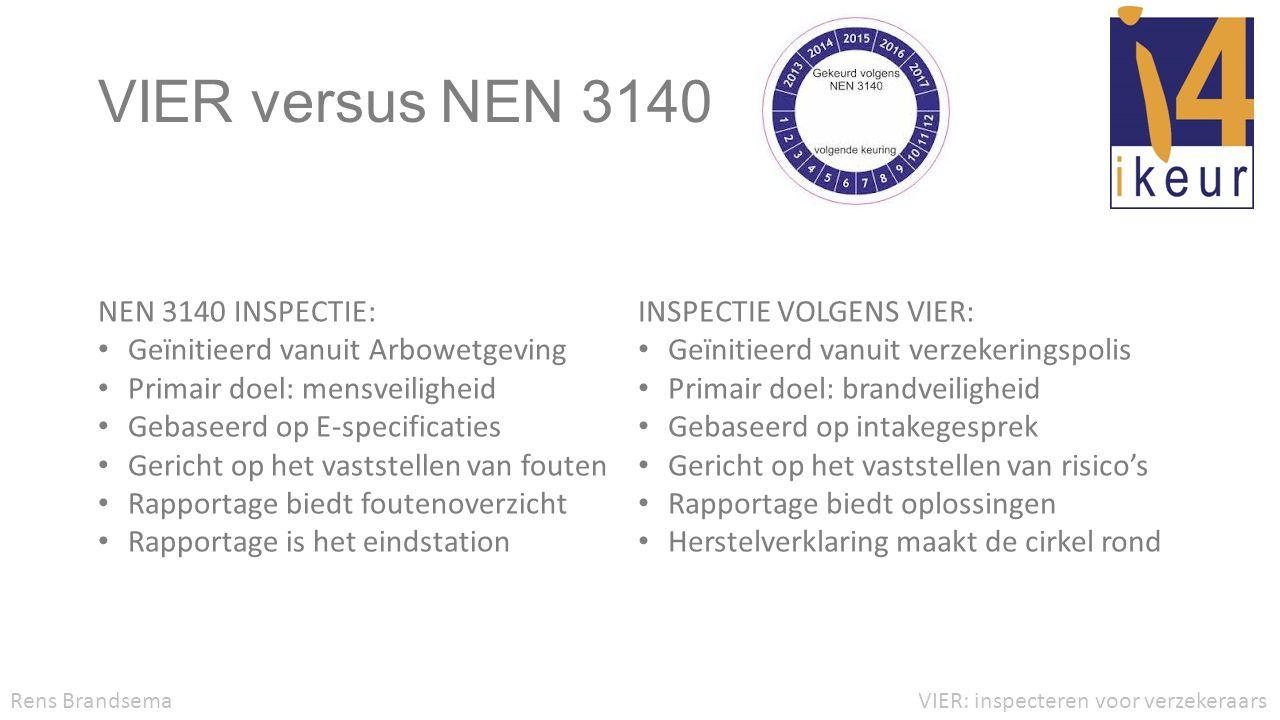 VIER versus NEN 3140 VIER: inspecteren voor verzekeraarsRens Brandsema NEN 3140 INSPECTIE: • Geïnitieerd vanuit Arbowetgeving • Primair doel: mensveil