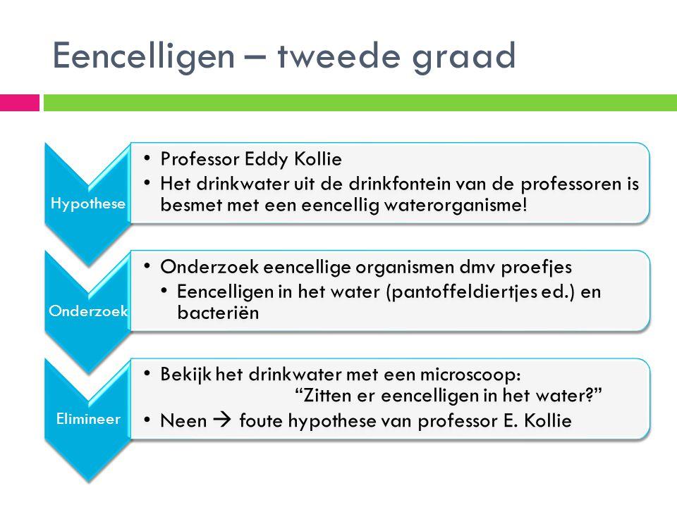 Eencelligen – tweede graad Hypothese •Professor Eddy Kollie •Het drinkwater uit de drinkfontein van de professoren is besmet met een eencellig wateror